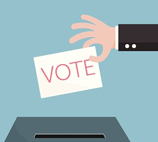 Hand of businessman vote ballot with box. Vector illustration.