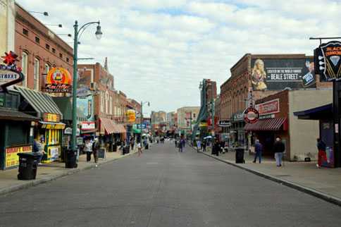 Memphis' famous Beale St. is a Blues music mecca.