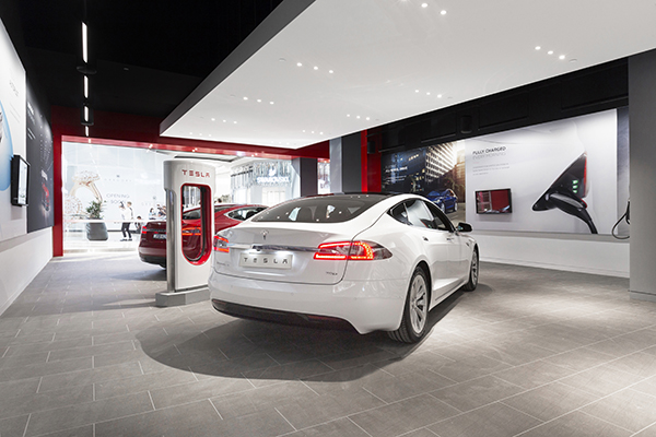 Tesla showrooms, like the one shown here, have been one way for the California automaker to get around state restrictions requiring manufacturers to have a dealership network. Tesla is challenging those restrictions in multiple states, namely Michigan.