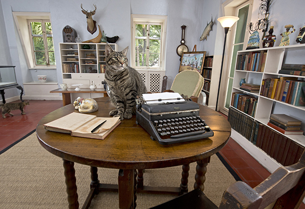 A cat sits on a writing table once used by Ernest Hemingway in the author's studio at the Ernest Hemingway Home & Museum in Key West, Fla. (Rob O'Neal/Florida Keys News Bureau/HO)