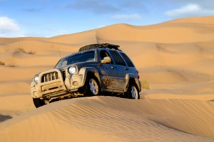 Jeep liberty on sand dune