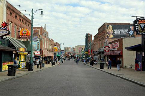Memphis' famous Beale St. is a Blues music mecca.