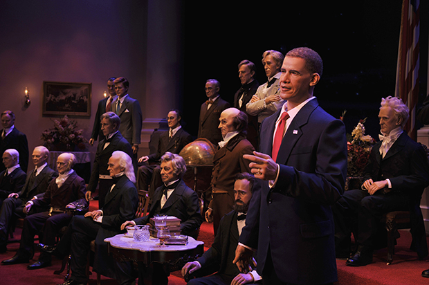 Disney World's Hall of Presidents features life-sized replications of every U.S. President.