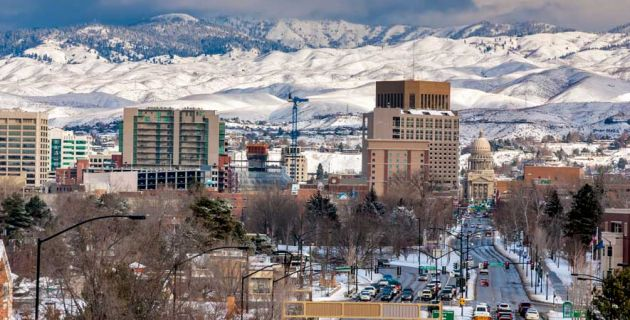 Boise, Idaho in the snow