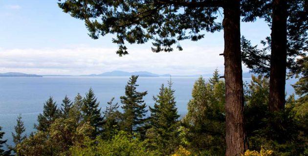 Chuckanut Drive overlooking Bellingham Bay in Washington State.