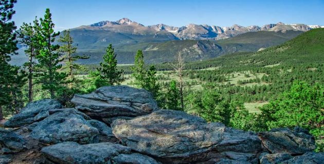 a rock outcrop in the foreground and a view of trees and mountains in Rocky Mountain National Park.
