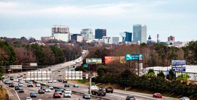 Roadway into the city of Columbia, South Carolina.