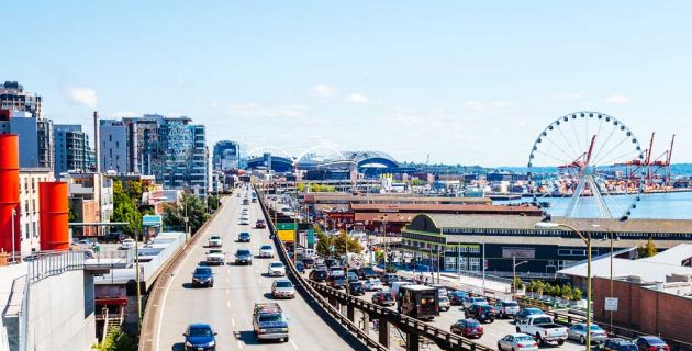 Roadway into the city of Seattle.