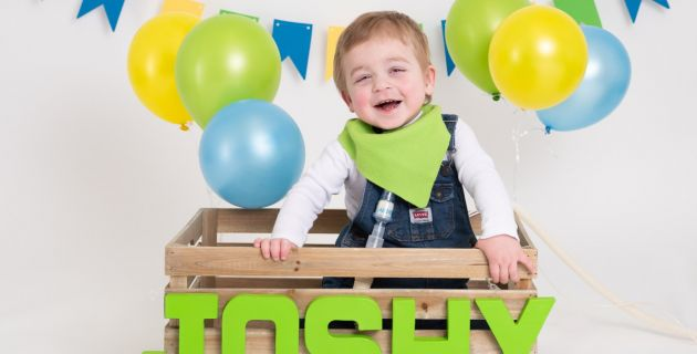 Joshua in his 2nd birthday pictures. Professional photographs taken by Kate Kelley Photography